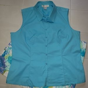 Dress Barn Bright Turquoise Blue Sleeveless Top